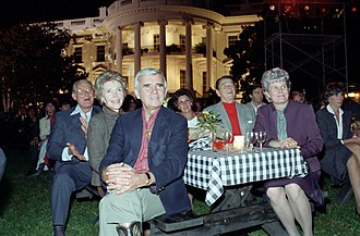 Paul Laxalt - Laxalt, his wife, Carol, President Ronald Reagan, First Lady Nancy Reagan, Bob Michel and his wife, Corrine, watch the Oak Ridge Boys performance during the Barbecue for Members of Congress on the South Lawn in 1983