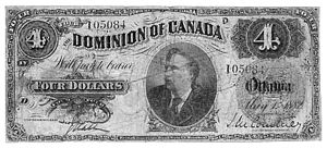 English: A Canadian four dollar bill issued in...