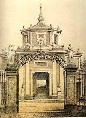 Peruvian colonial architecture - Central Chapel, neoclassical and octagonal, Presbyter Matías Maestro Cemetery.