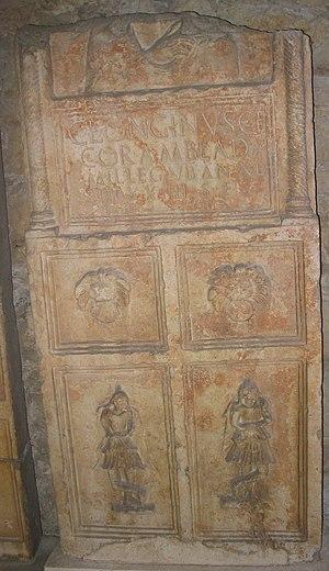 Delminium - Grave of the legionary soldier Caius Longinus from Amblada who died in Delminium. Grave is now located in museum in Split, Croatia