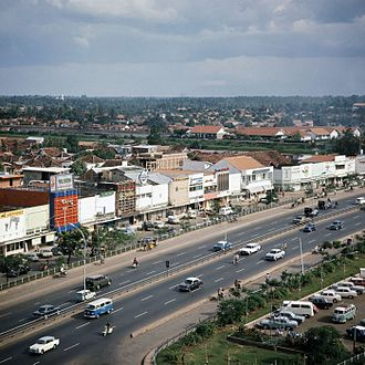 Jalan M.H. Thamrin - View of the southern half of Thamrin Road from Hotel Kartika Plaza in the 1970s.