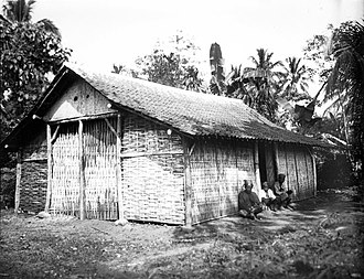 Javanese traditional house - An extended kampung-type roof in a house of Javanese common people.