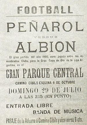 Albion F.C. - Poster announcing a match between Albion and CURCC, 1900.