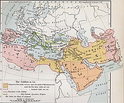 Map of Europe, North Africa and the Middle East, showing the Arab Caliphate at its greatest extent