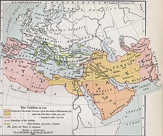 Third Fitna - Map of the Caliphate at the end of the Umayyad dynasty, ca. 750