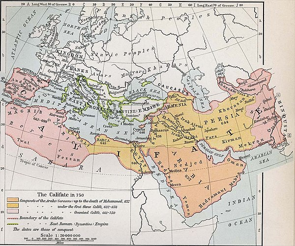 The expansion of the Muslim Caliphate until 750, from William R. Shepherd's Historical Atlas.