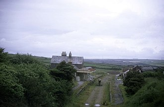 North Cornwall Railway - Camelford station in 1971 looking towards Launceston from the now-demolished road bridge. Photo by Roger Geach