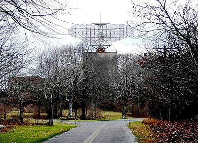 ANFPS-35 radar at Camp Hero, which became the centerpiece of the Montauk Project conspiracy theory Camp hero radar ANFPS-35.jpg