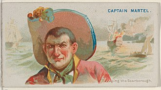 John Martel (pirate) - Image: Captain Martel, Escaping the Scarborough, from the Pirates of the Spanish Main series (N19) for Allen & Ginter Cigarettes MET DP835012