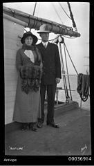 Captain Mathieson and his wife Gertrude Mathieson on board ANTIOPE (8932675478).jpg
