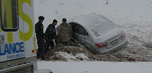 Snowsquall - Rapidly deteriorating weather conditions during snowsqualls often lead to traffic accidents.