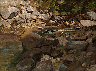 Mountain Stream with Boulders