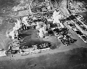 Operation Transom - Strike photo taken during the attack by carrier planes.