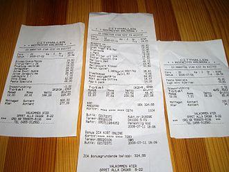Cash rounding - Image: Cash rounding receipts