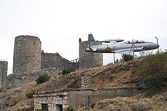Coruña del Conde - Coruña del Conde castle and plane commemorating aviation pioneer Diego Marín Aguilera