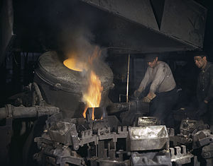 Chase Brass and Copper Company - Casting a billet from an electric furnace, Chase Brass and Copper Co., Euclid, Ohio, 1942