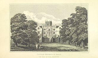 Castle Bromwich Hall - Drawing of the hall, from William Hutton's 1809 book An history of Birmingham