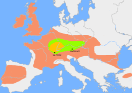 The green area suggests a possible extent of (proto-)Celtic influence around 1000 BC. The orange area shows the region of birth of the La Tene style. The red area indicates an idea of the possible region of Celtic influence at its greatest extent around 400 BC, though omitting the north of Scotland and the Shetland and Orkney Islands where Pictish art has been found.