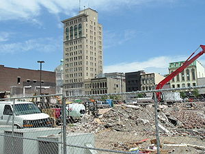 CentrePointe (Lexington) - Demolition of former buildings at the CentrePointe construction site in August 2008