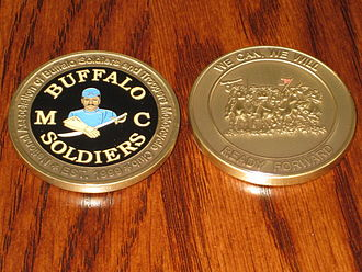 Challenge coin - Members of the National Association of Buffalo Soldiers and Troopers Motorcycle Club must earn their challenge coin.