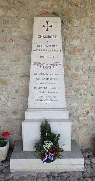 Monument aux morts de Chambost (commune de Chambost-Allières), dans le département du Rhône.