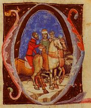 A young man riding a horse is accompanied by two elderly horsemen