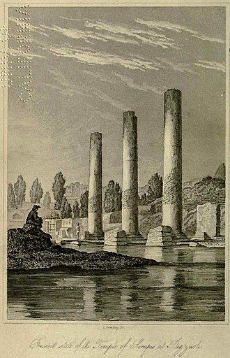 "Macellum of Pozzuoli - Frontispiece of Charles Lyell's Principles of Geology of 1830, ""carefully reduced from that given by the Canonico Andrea de Jorio in his Ricerche sul Tempio di Serapide, in Puzzuoli. Napoli, 1820, which had been based on a drawing by John Izard Middleton."