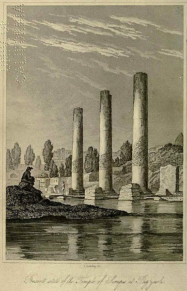 Pillars of the temple at Pozzuoli (Italy) used by Lyell to show former sea level differing from today. The corroded part at each pillar has once been below sea level. This higher sea level obviously is after the temple was built and was caused by downwarp and uplift of the land surface as a result of volcanic activity.