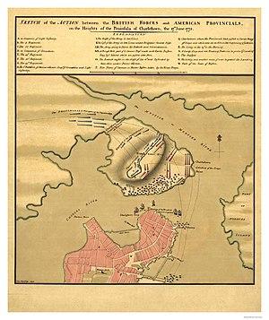 Charlestown Neck - Charlestown Battle Map, 1775