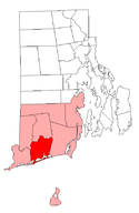 Location of Charlestown in Washington County, Rhode Island