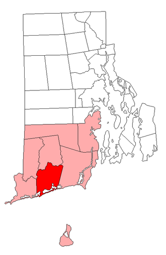 Narragansett land claim - Originally claimed land in dark red, further claimed land in light red.