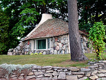 Irregular stone house in Charlevoix, Michigan