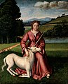 Chastity (a virgin and a unicorn). Oil painting by a followe Wellcome V0017113.jpg