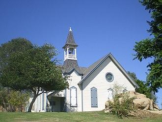 Oakwood Memorial Park Cemetery - Historic Chatsworth Community Church located on grounds of Oakwood Memorial Park