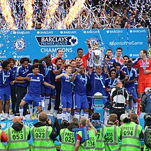 Terry Lifting The Premier League Trophy After Last Game