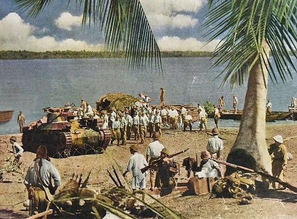 Japanska trupper vid attacken mot Singapore
