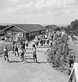 Children evacuated from East Ham in London, rush for lunch at Marchant's Hill School, Hindhead, Surrey, 1944. D21625.jpg