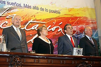 2009 Chilean parliamentary election - The Former presidents of Chile, together in a Concertación Conference in 2009.