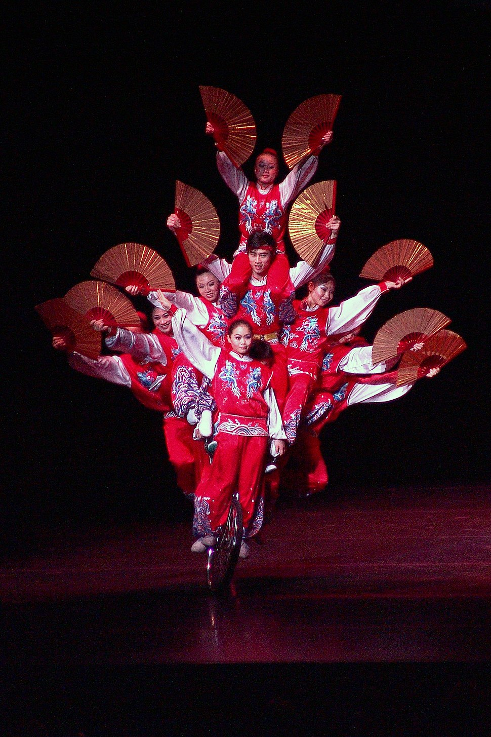 Chinese Circus Acrobats on Bicycle