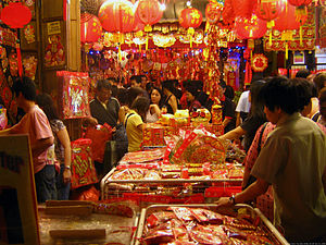 A scene in a street market in Chinatown, Singa...