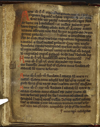 Chronicles of Mann - Image: Chronicles of Mann BL Cotton MS Julius A vii f 35v