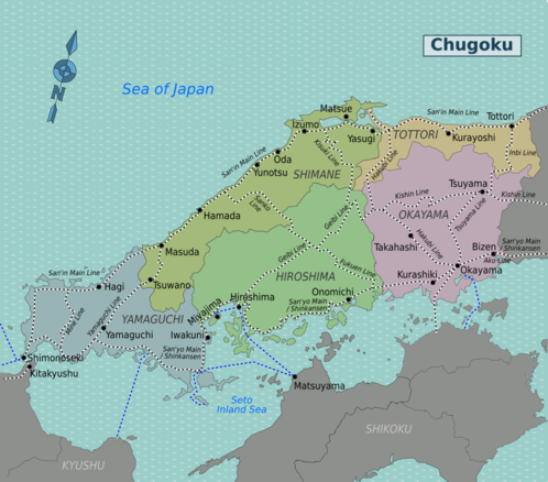 Map of Chugoku
