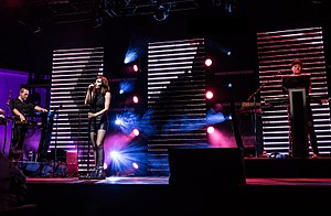 Chvrches performing in Los Angeles in October 2016