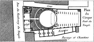 Amphithéâtre Anglais - Image: Cirque Faubourg du Temple Plan Kaufmann 1837 plate 15 GB Princeton