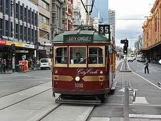 City Circle tram - W class tram on Flinders Street in August 2008