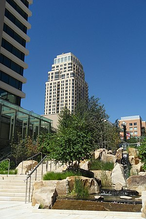 City Creek Center - Entrance to City Creek Center, with 99 West apartments in the background. (August 2012)