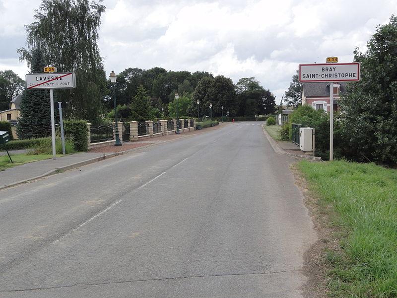 City limit sign Lavesne (2 municipalities) , and city limit sign Bray-Saint-Christophe