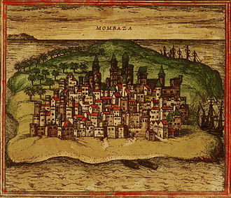 Mombasa - 1572 Mombasa from Civitates orbis terrarum by Georg Braun and Franz Hogenberg