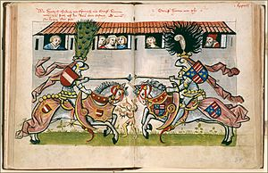 Frederick IV, Duke of Austria - Council of Constance: tournament of Frederick IV of Austria and Frederick II of Celje, depiction in the chronicles by Ulrich of Richenthal (c. 1470)