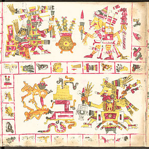 Aztec creator gods - Tonacatecuhtli (adove-left), Xipe-Totec (adove-right) and Xiuhtecuhtli (below) in the Codex Borgia.